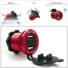 Red 12V Dual USB 4.2A Car Cigarette Lighter Charger Socket LED Digital Voltmeter