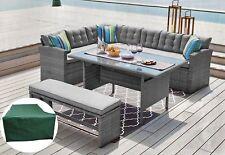Rattan Corner Garden Sofa 8 Seater +bench Dining Table Set Furniture Free Cover