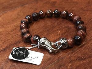 """Blackjack Mens Genuine Red Tiger Eye Stainless Steel 8.5"""" Bead Bracelet NWT"""