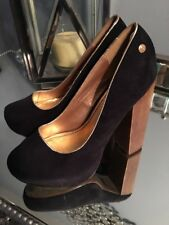 "Blink Black Suede Gold Trim hi-heel pumps Sz 11 5.25"" Wooden heel"