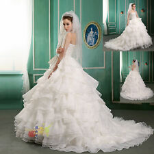 Brand New Beaded Organza Straight Wedding Dress Bride Gown Ball Gown