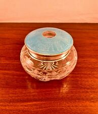 LARGE STERLING SILVER & BLUE ENAMEL CUT-GLASS DRESSER JAR / HAIR RECEIVER