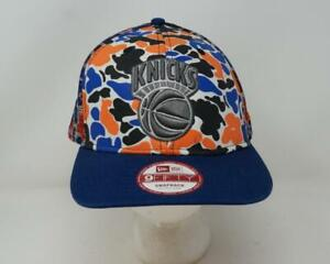 New Era NBA New York Knicks 9FIFTY Snapback Hat Camo Blue/Orange Adult - M/L