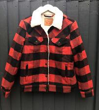 Levis Plaid Shearling Wool Blend Trucker Sherpa Jacket Size S