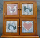 Vtg.+Solid+Wood+4-Shelf+Mini-Cabinet+with+4+Country-Style+Calico-Quilted+Doors