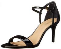 $99 size 8.5 Michael Kors Simone Mid Heel Ankle Strap Black Leather Sandals Shoe