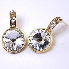 Clear Crystal Swarovski Elements Gold Post Earrings Rhodium Women