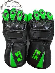 Top Quality Kawasaki Motorbike Original Leather Gloves full Protected