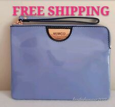 FREE POST MIMCO ECHO MIST BLUE MEDIUM POUCH ROSE GOLD PATENT LEATHER RRP99.95