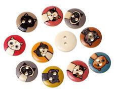 """Lot of 10 CARTOON CAT 2-hole Wooden Buttons 5/8"""" (15mm) Scrapbook Doll (4012)"""