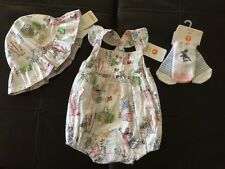 GYMBOREE NEW BABY GIRL 3-6 M PETER RABBIT DRESS HAT & SOCKS OUTFIT EASTER