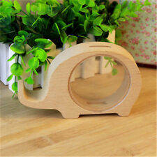 Lovely Wooden Elephant Shape Coin Money Saving Bank Container Box Desk Ornament