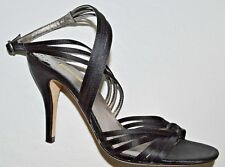 MAX STUDIO NEW $129 SZ 6.5 M BLACK SATIN WRAP AROUND ANKLES SANDALS HEELS
