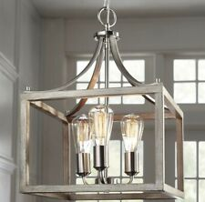 Home Decorators Boswell Quarter 14 in 3-Light Brush Nickel + Painted Wood Accent