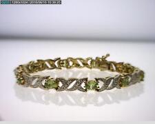 Vermeil over Sterling Silver 7.20CTTW Peridot Hugs & kisses Bracelet (B5510)