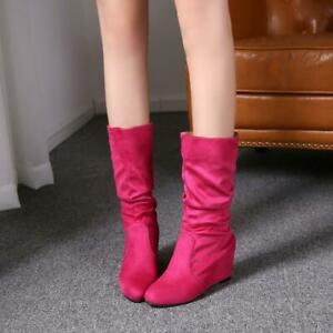 Womens Hidden Wedge Heels Faux Suede Mid Calf Boots Slouch Casual Shoes Size