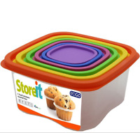 7pc Food Storage Box Lid Stackable Rainbow Square BPA Free Plastic Container Set