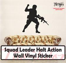 Squad Leader Halt Action Wall Vinyl Sticker