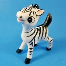 "Vintage Baby Zebra Figurine Japan Sticker 3.5"" Big Eyes Porcelain Miniature Mc"