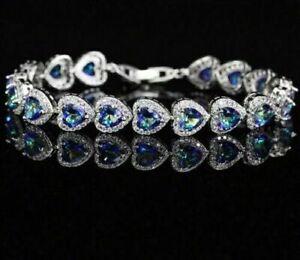 925 Silver Mystic Light Blue Topaz Heart Shaped Tennis Bracelet Austrian Crystal
