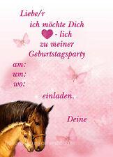 8 Einladungskarten Pferde Pony Geburtstag Kinder Kindergeburtstag Einladungen