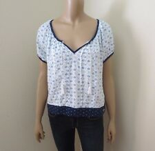 Hollister Womens Floral Peasant Top Shirt Size XS Blue & White
