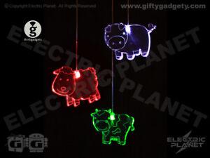 Farmyard Animal LED Colour-Changing Mobile Light, Battery-Powered Nightlight