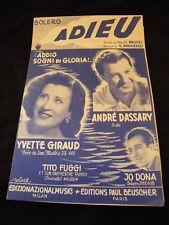 Partition Adieu André Dassary Yvette Giraud Jo Dona Music Sheet