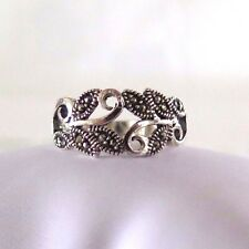 925 SOLID SILVER MARCASITE TENDRILS  RING SIZE 7 <Pretty little Kiss>