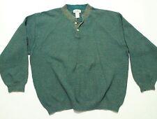 Vintage LL Bean Henley Sweater Jumper Textured Knit Cotton Blend Strech USA