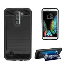 For LG K7 & LG Tribute 5 Hard Case with Card stand & Screen Protector BLACK
