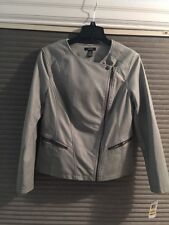 New Alfani Women Gray Jacket Size M, With Full Front Zipper And Zipper Pocket