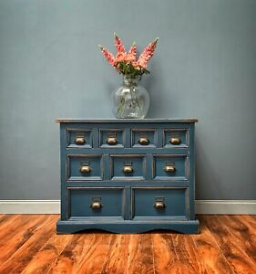 Beautiful Blue Pine Apothecary Merchant Bank Of Drawers Chest Sideboard