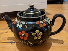 Genuine Brown Betty Redware Teapot  Vent Lid Hand Painted Gold Trim ALB1930s UK