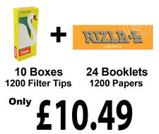 1200 Rizla Liquorice CigaretteRolling Papers + Swan Extra Slim Filter Tips