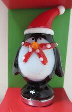 Pier 1 Christmas Penquin Glass Wine/bottle Stopper Stocking Stuffer NEW in Box!
