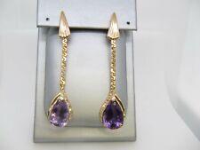 14k Yellow Gold Amethyst Drop Diamond Earrings