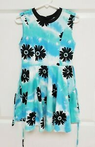 NWT Justice 5 Watercolor Tie-Back Dress Blue/Green/Black