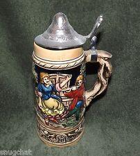 """Vintage Tan Brown German Ceramic Style Beer Stein Mug 9 1/4"""" Tall Made In Japan"""