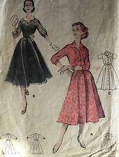 "USED VINTAGE 1950's 'BUTTERICK' CLASSIC DRESS PATTERN 8133 SIZE 16 1/2"" -37"""