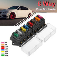 Fuse Box 8 Way Circuit Standard Blade Fuses ATO Holder Block Car Truck Caravan
