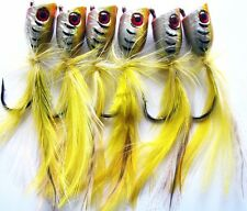 6 X New Generation Quality Medium Surf Popper Fishing Lure Yellow Laser Colour