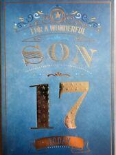 for a Wonderful Son on Your 17th Birthday Card - 7402 Design CG Blue