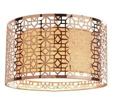 Copper Geo Geometric Cut Out Metal LARGE Drum Ceiling Light Shade Pendant NEW