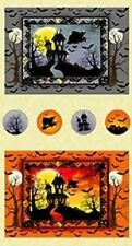 WITCHES BREW HAHA WITCHES FULL MOON BATS HAUNTED HOUSE HALLOWEEN FABRIC PANEL