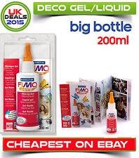 Big Bottle Fimo Liquid Polymer Clay Deko Gel 200ml Bakable Transfer Medium