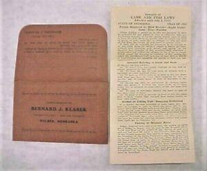 1933 NEBRASKA FISH AND HUNT LAWS & LICENSE HOLDER - WILBER - Co Clerk Klasek