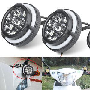 2X LED Motorcycle Spot Light Headlight Angel Eye Halo Flowing Head Lamp Driving