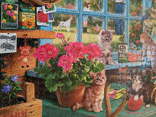 1000 Piece Garden Shed with Cats Jigsaw Puzzle COMPLETE EUC