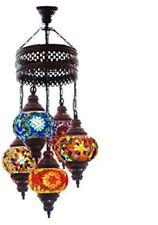 Mosaic Chandelier Lamp 5 Turkish Globe Stained Glass Lantern Home Lighting NEW